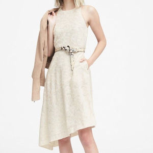 Banana Republic XL 12 14 Ivory Jacquard Midi Bias